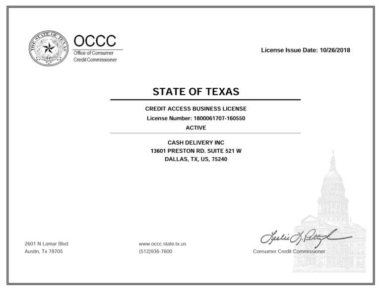 OCCC Notice Cash Delivery INC